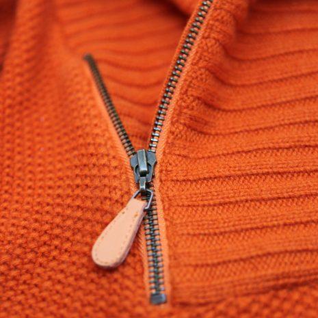 Pull col châle et zip latéral