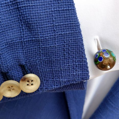 Boutons de manchette avec perles céramique vintage émaillées à la main. Tige argent.