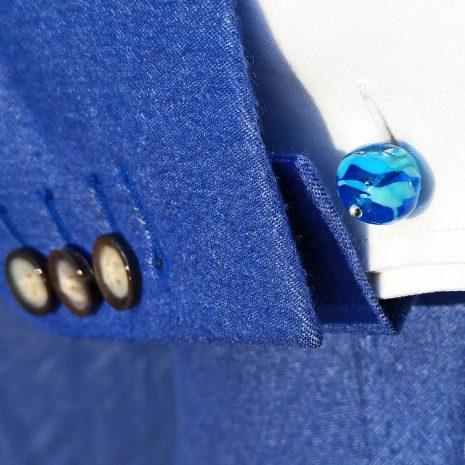 Boutons de manchette en verre de Murano, soufflé au chalumeau, couleur aigue-marine.