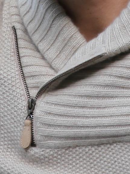 Pull col châle et zip